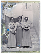 mother with daughters full length portrait early 1900s