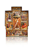 Gothic altarpiece dedicated to St Vincent by Bernat Martorell circa 1483-1440 in Barcelona, tempera and gold lef on wood from the Parish church of St Vincent of menarguens, Noguera, Spain. At the top of the central panels of the altar tryptic, replacing the traditional Calvery scene, can be seen in the centre the Virgin of Mercy and kneeling to the left is Sant Benet de Bages, in black, and to the right St. Bernard of Clairvaux, patron saint of thr Benedictine and Cistercian orders . Below this is a depiction of St Vincent and either side are scenes of the Mardom of Vincent. Along the bottom are scenes from the Passion of Christ, with Judas in a yellow tunic kissing Christ and a furious Peter cutting off the ear of Malcus. National Museum of Catalan Art (MNAC), Barcelona, Spain, inv 15797. Against a white background. .<br /> <br /> If you prefer you can also buy from our ALAMY PHOTO LIBRARY  Collection visit : https://www.alamy.com/portfolio/paul-williams-funkystock/gothic-art-antiquities.html  Type -     MANAC    - into the LOWER SEARCH WITHIN GALLERY box. Refine search by adding background colour, place, museum etc<br /> <br /> Visit our MEDIEVAL GOTHIC ART PHOTO COLLECTIONS for more   photos  to download or buy as prints https://funkystock.photoshelter.com/gallery-collection/Medieval-Gothic-Art-Antiquities-Historic-Sites-Pictures-Images-of/C0000gZ8POl_DCqE