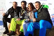 Stefan Regez, André Roger Weiss, Alina Buchschacher und Nöldi Forrer, Gewinner vom «Renzo's Schneeplausch» vom 23. Januar 2016 in Vella, Gemeinde Lumnezia.