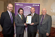 31/01/2014 REPRO free.<br /> From Left   Tony McQuinn CEO CIB withand Matt Fisher, EFQM,  James Clark Longford MABS and CforC Chief Executive Bob Barbour,  at Galway Bay Hotel for 2013 EFQM IRELAND EXCELLENCE AWARDS AT EUROPEAN EXCELLENCE .<br /> <br /> Levels of recognition include: Ireland Excellence Award, Excellence 5 Star Award, Excellence 4 Star Award, STEPS to Excellence, and Gold Star Service Excellence. The Awards are not an end in themselves but a means of assessing and recognising role model organisations against the most rigorous international quality standards while encouraging management and staff to continue their excellence journey to the next level.www.cforc.org .<br /> Photo:Andrew Downes
