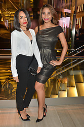 Left to right, JADE McEWAN and VISCOUNTESS WEYMOUTH at the Veryexclusive.co.uk Launch Party held at Watches of Switzerland, 155 Regents Street, London on 20th February 2015.