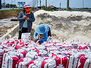28 MARCH 2018 - SAMUT SONGKHRAM, SAMUT SONGKHRAM, THAILAND: Workers at a salt wholesaler sew shut bags of salt during the 2018 salt harvest in Samut Songkhram, about 90 minutes south of Bangkok. Sea salt is made in provinces south of Bangkok by flooding fields with ocean water after the rainy season. As the fields dry out from evaporation, workers go into the fields and gather the salt left behind.         PHOTO BY JACK KURTZ