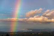 Rainbvow and the Strait of Juan de Fuca, Dungeness Spit and San Juan Islands, Salish Sea, view from the North Olympic Peninsula, Washington, USA