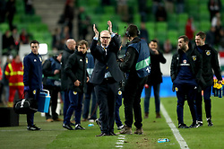 Scotland manager Alex McLeish applauds the fans at the end of the match after Scotland win 1-0 against Hungary during the international friendly match at the Groupama Arena, Budapest.