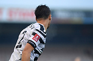 Forest Green Rovers Kane Wilson(2) with FA Cup badge on sleeve during the The FA Cup match between Lincoln City and Forest Green Rovers at Sincil Bank, Lincoln, United Kingdom on 7 November 2020.
