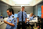 Guards are standing in one of the observation points build for every living section of the prison in the luxurious Halden Fengsel, (prison) near Oslo, Norway.