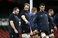 Alun Wyn Jones, the captain of Wales © points during the Wales rugby team captains run at the Principality Stadium  in Cardiff , South Wales on Friday 2nd February 2018.  the team are preparing for their opening Natwest 6 Nations 2018 championship match against Scotland tomorrow.   pic by Andrew Orchard
