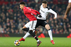5 January 2018 - FA Cup (3rd Round) Football - Manchester United v Derby County - Jesse Lingered of Man Utd and Tom Lawrence of Derby battle for the ball - Photo: Charlotte Wilson / Offside