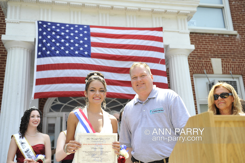 Miss Wantagh Pageant ceremony, a long-time Independence Day tradition on Long Island, is Wednesday, July 4, 2012, at Wantagh School, New York, USA. 2nd runner up was Paulina Renda (front left in white gown). Since 1956, the Miss Wantagh Pageant, which is not a beauty pageant, has crowned a high school student based mainly on academic excellence and community service.