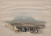 Mount Tabor from the Plain of Esdraelon Color lithograph by David Roberts (1796-1864). An engraving reprint by Louis Haghe was published in a the book 'The Holy Land, Syria, Idumea, Arabia, Egypt and Nubia. in 1855 by D. Appleton & Co., 346 & 348 Broadway in New York.