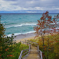 """""""Stairway to Lake Superior""""<br /> <br /> A gorgeous windy day on Lake Superior with green-blue water, white capped waves, and stormy skies!"""