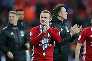 Wayne Rooney of Manchester Utd wearing his winners medal applauds the fans at the end of the game.   EFL Cup Final 2017, Manchester Utd v Southampton at Wembley Stadium in London on Sunday 26th February 2017. pic by Andrew Orchard, Andrew Orchard sports photography.