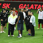 NBA basketball player Kobe BRYANT (C) and Galatasaray's coach Fatih TERIM seen durig their training at TT arena at Istanbul, Turkey on 25 September 2011. Photo by TURKPIX