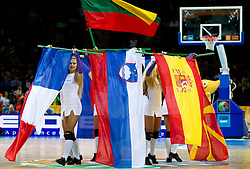 Cheerleaders with Slovenian (C) flag during basketball game between National basketball teams of Slovenia and Lithuania at of FIBA Europe Eurobasket Lithuania 2011, on September 15, 2011, in Arena Zalgirio, Kaunas, Lithuania. Lithuania defeated Slovenia 80-77.  (Photo by Vid Ponikvar / Sportida)