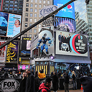 The Fox Super Bowl studios in Times Square during Super Bowl week in New York. Times Square, New York, USA. 27th January 2014. Photo Tim Clayton