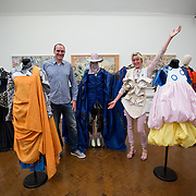 """18.05.2018.          <br /> More than 500 people attended the flagship event of the inaugural Unwrap LSAD Fashion Festival in Limerick.<br /> <br /> Graduate Siobhan Ni Hifearnain and Brendan O'Sullivan pictured with Siobhains design, SCAVANGING@SIBIIHEFF.<br /> <br /> The Limerick School of Art & Design, LIT, Fashion Design Graduate Exhibition and launch of the """"The Fashion Film"""" at Limerick City Gallery of Art, in partnership with EVA International, attracted hundreds of people from the world of fashion. <br /> <br /> A total of 27 fashion graduates presented their designs alongside the specially commissioned film by fashion stylist and creative director Kieran Kilgallon and videographer Albert Hooi. Picture: Alan Place"""