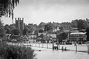 Henley. Berks, United Kingdom. <br /> <br /> Two, Double Sculls, return to the boating area after their heat. 2017 Henley' Women's Regatta. Rowing on, Henley Reach. River Thames. <br /> <br /> <br /> Saturday  17/06/2017<br /> <br /> <br /> [Mandatory Credit Peter SPURRIER/Intersport Images]