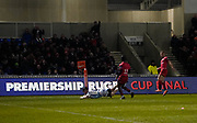 Sale Sharks flanker Ben Curry dives over for a try during a Premiership Rugby Cup Semi Final  won by Sale 28-7, Friday, Feb. 7, 2020, in Eccles, United Kingdom. (Steve Flynn/Image of Sport)