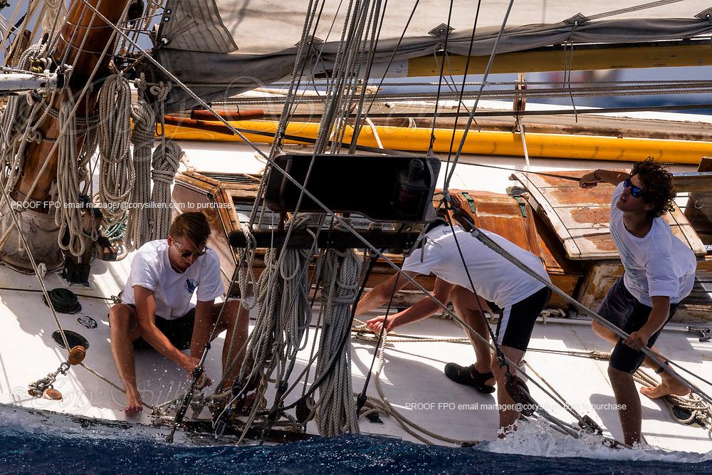 Anne Marie sailing in the Antigua Classic Yacht Regatta, Windward Race.