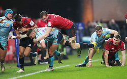 Exeter Chiefs's Henry Slade is knocked into touch by Munster's Tommy O'Donnell during the Heineken European Challenge Cup, pool two match at Thomond Park, Limerick. PRESS ASSOCIATION Photo. Picture date: Saturday January 19, 2019. See PA story RUGBYU Munster. Photo credit should read: Niall Carson/PA Wire. RESTRICTIONS: Editorial use only. No commercial use.