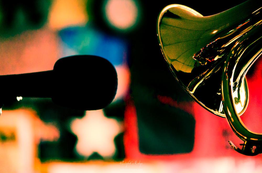 George Rabbai's flugelhorn during a Monday Rowan Jazz at The Bus Stop Music Cafe event.