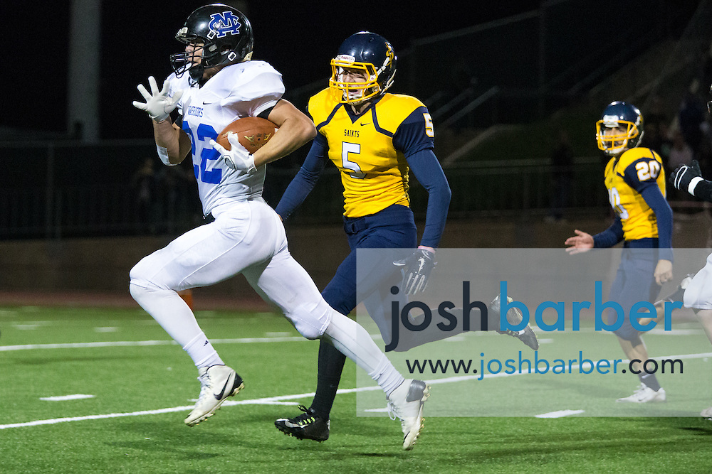 Calvary Chapel of Murrieta's Micah Roth (22), Crean Lutheran's Patrick Mcnerney (5) during the CIF-SS East Valley Divison Second Round  at Irvine High School on Friday, November 20, 2015 in Irvine, California. (Photo/Josh Barber)