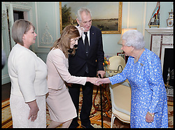 June 16, 2017 - London, London, United Kingdom - Image ©Licensed to i-Images Picture Agency. 16/06/2017. London, United Kingdom. Audiences at Buckingham Palace. .Queen Elizabeth II meets Milos Zeman, President of the Czech Republic, accompanied by his wife Ivana and daughter Katerina during a private audience with Her Majesty at Buckingham Palace, London.Picture by  i-Images / Pool (Credit Image: © i-Images via ZUMA Press)
