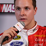 Former Daytona 500 winner Trevor Bayne, speaks with the media during the NASCAR Media Day event at Daytona International Speedway on Thursday, February 14, 2013 in Daytona Beach, Florida.  (AP Photo/Alex Menendez)