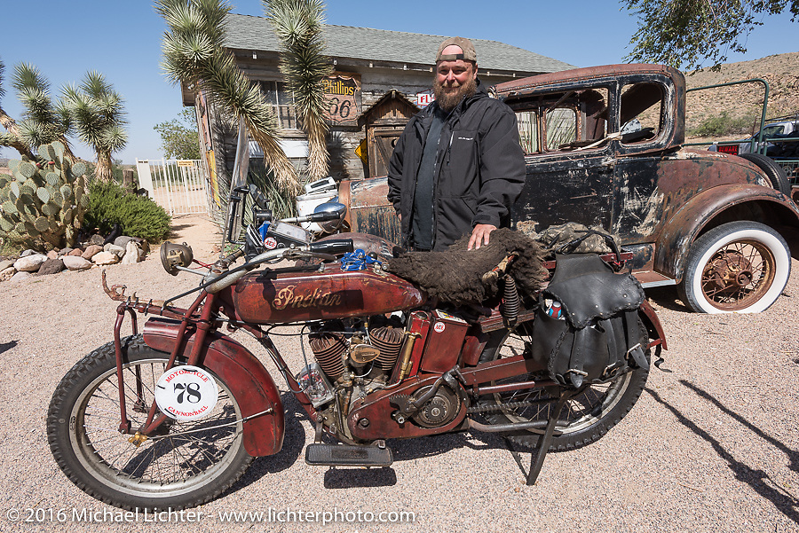Clint Funderburg of Oregon riding his 1916 Indian at the Hackberry General Store on historic Route 66 in Kingman, Arizona during the Motorcycle Cannonball Race of the Century. Stage-13 ride from Williams, AZ to Lake Havasu CIty, AZ. USA. Friday September 23, 2016. Photography ©2016 Michael Lichter.