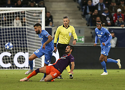 October 2, 2018 - Sinsheim, Germany - Kerem Kaderabek 10; Ilkay Gundogan 8; seen in action during the UEFA Champions League group F football match between TSG 1899 Hoffenheim and Manchester City at the Rhein-Neckar-Arena. (Credit Image: © Elyxandro Cegarra/SOPA Images via ZUMA Wire)