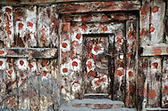 A door on a storage shed in Nesang Village, Himachal Pradesh