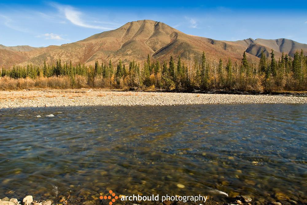 Blackstone River runs alongside the Dempster Highway, Yukon, Canada.
