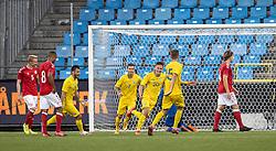 Danylo Sikan (Ukraine) jubler efter scoringen til 0-1 under U21 EM2021 Kvalifikationskampen mellem Danmark og Ukraine den 4. september 2020 på Aalborg Stadion (Foto: Claus Birch).