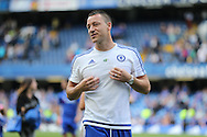 John Terry, the Chelsea captain looks on during a walk around the pitch after full time.Barclays Premier league match, Chelsea v Leicester city at Stamford Bridge in London on Sunday 15th May 2016.<br /> pic by John Patrick Fletcher, Andrew Orchard sports photography.