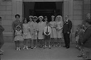 28/07/1962<br /> 07/28/1962<br /> 28 July 1962 <br /> Wedding of Mr Desmond F. English, Landscape Cresent, Churchtown and Miss Blanche O'Brien Oakley Park, Blackrock at St John the Baptist Church, Blackrock and Ross's Hotel Dun Laoghaire, Dublin. Image shows the Bride's party outside the church after the ceremony.