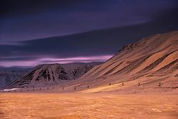 Arctic night in Longyearbyen, Svalbard