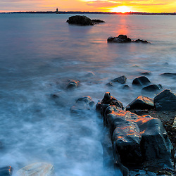 Sunset on the coast at Fort Foster Park in Kittery, Maine.