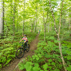 A boy and his family ride mountain bikes on a trail near Deboullie Pond in Aroostook County, Maine. Deboullie Public Reserve Land.