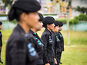 17 JUNE 2015 - RANGAE, NARATHIWAT, THAILAND: Thai women Rangers drill. There are 5 platoons of women Rangers serving in Thailand's restive Deep South. They generally perform security missions at large public events and do public outreach missions, like home wellness checks and delivering food and medicine into rural communities. The medics frequently work in civilian clothes because the Rangers found people are more relaxed around them when they're in civilian clothes. About 6,000 people have been killed in sectarian violence in Thailand's three southern provinces of Narathiwat, Pattani and Yala since a Muslim insurgency started in 2004. Attacks usually spike during religious holidays. Insurgents are fighting for more autonomy from the central government in Bangkok.     PHOTO BY JACK KURTZ