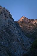 Evening light on granite peaks over Kings Canyon, Fresno County, California