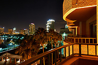 Night view of the Vinoy basin, the St. Petersburg skyline, and balconies from Vinoy Hotel in St. Petersburg, Florida. Image taken with a Nikon D300 camera and 14-28 mm f/2.8 len (ISO 200, 14 mm, f/14, 30 sec).