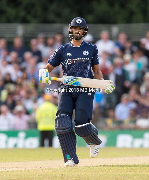 EDINBURGH, SCOTLAND - JUNE 12: Scotland's Safyaan Sharif in the first of 2 Twenty20 Internationals at the Grange Cricket Club on June 12, 2018 in Edinburgh, Scotland. (Photo by MB Media/Getty Images)