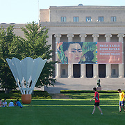 Soccer game on a summer afternoon on the south lawn of the Nelson Atkins Museum of Art in Kansas City, MO.