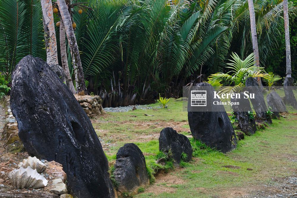 Stone money (Rai stones) in the bank, Yap Island, Federated States of Micronesia