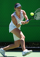 Tennis: MELBOURNE, AUSTRALIA - JANUARY 19:  Camille Pin of France in action during day one of the Australian Open January 19, 2004 in Melbourne, Australia.