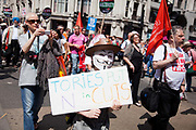 People's Assembly rally marched through Central London to Parliament Square with up to 50.000 participants in defiance of the UK Government's austerity policies.
