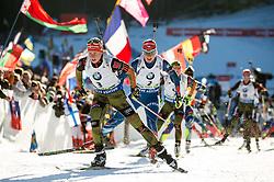 Franziska Hildebrand (GER) and Gabriela Soukalova (CZE)  during Women 12.5 km Mass Start at day 4 of IBU Biathlon World Cup 2015/16 Pokljuka, on December 20, 2015 in Rudno polje, Pokljuka, Slovenia. Photo by Vid Ponikvar / Sportida