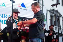 Major of Ljubljana Zoran Jankovic and Janja Garnbret  during PZS reception of Slovenian national climbing team after IFSC Climbing World Championships in Hachioji (JPN) 2019, on August 23, 2019 at Ministry of Education, Science and Sport, Ljubljana, Slovenia. Photo by Grega Valancic / Sportida