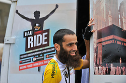 © Licensed to London News Pictures. 14/07/2017. London, UK. A Hajj cyclist checks the support van. Muslim cyclists gather at the East London Mosque in Whitechapel to set out on the 'Hajj Ride', the first ever charity cycle ride from London to Medina in Saudi Arabia.  The 3,500km, 6 week ride will pass through 8 countries raising funds for medical aid in Syria.  Intended to champion cycling in Muslim society, the ride also aims to satisfy one of the five pillars of Islam, being the Hajj pilgrimage to Mecca.  Photo credit : Stephen Chung/LNP