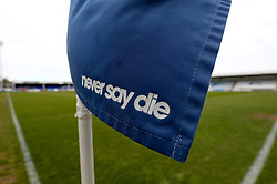 The Hartlepool United club motto, 'Never say Die' is printed on the corner flags at The Northern Gas and Power Stadium - Mandatory by-line: Robbie Stephenson/JMP - 06/05/2017 - FOOTBALL - The Northern Gas and Power Stadium (Victoria Park) - Hartlepool, England - Hartlepool United v Doncaster Rovers - Sky Bet League Two
